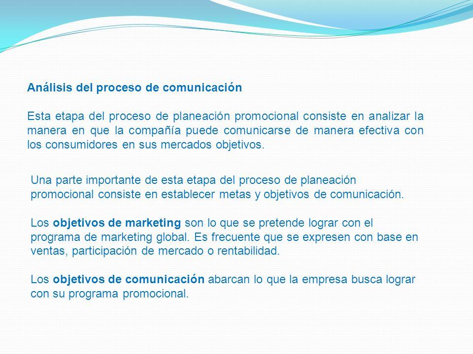 Análisis del proceso de comunicación Esta etapa del proceso de planeación promocional consiste en analizar la manera en que la compañía puede comunica