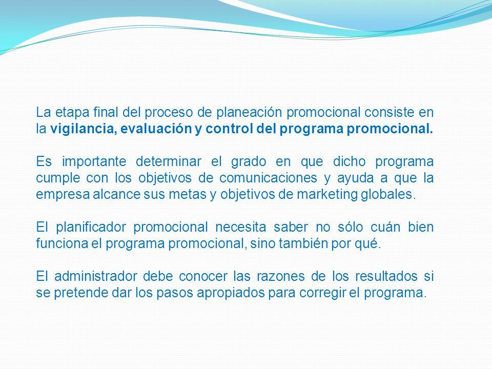 La etapa final del proceso de planeación promocional consiste en la vigilancia, evaluación y control del programa promocional. Es importante determina