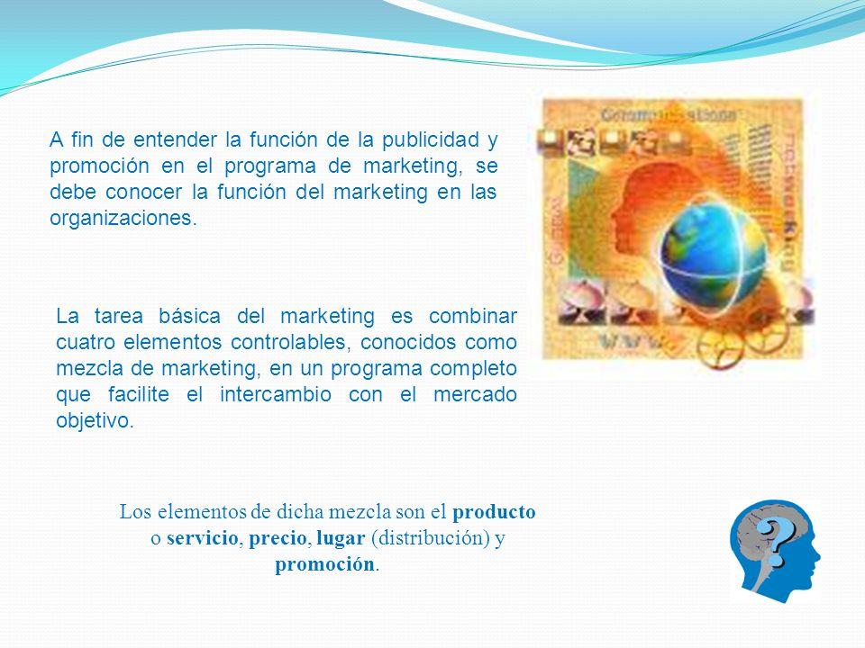 A fin de entender la función de la publicidad y promoción en el programa de marketing, se debe conocer la función del marketing en las organizaciones.