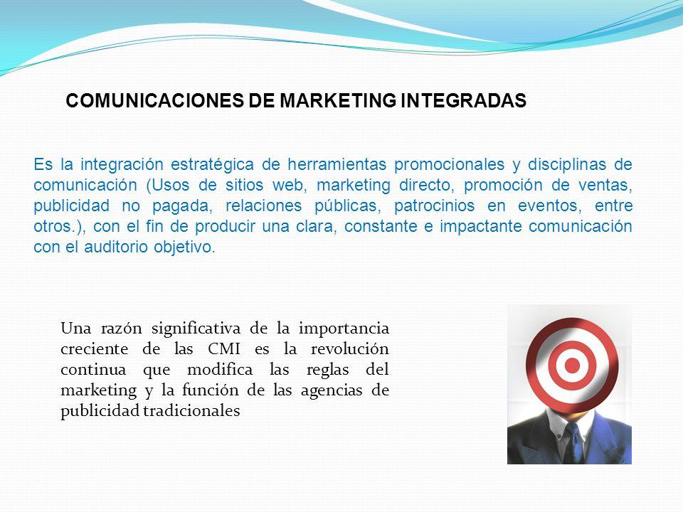 COMUNICACIONES DE MARKETING INTEGRADAS Es la integración estratégica de herramientas promocionales y disciplinas de comunicación (Usos de sitios web,