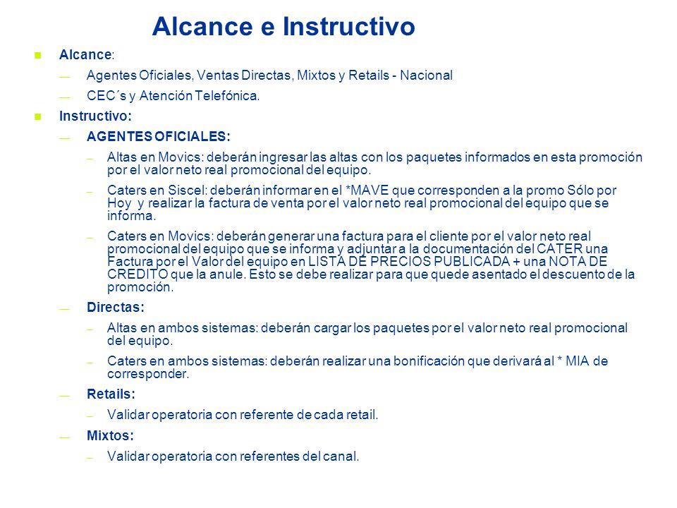 Alcance e Instructivo Alcance: Agentes Oficiales, Ventas Directas, Mixtos y Retails - Nacional CEC´s y Atención Telefónica. Instructivo: AGENTES OFICI