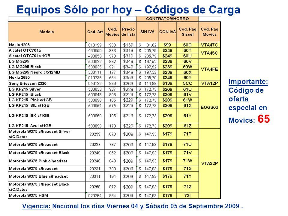 Equipos Sólo por hoy – Códigos de Carga AHORRO Importante: Código de oferta especial en Movics: 65 Vigencia: Nacional los días Viernes 04 y Sábado 05 de Septiembre 2009.