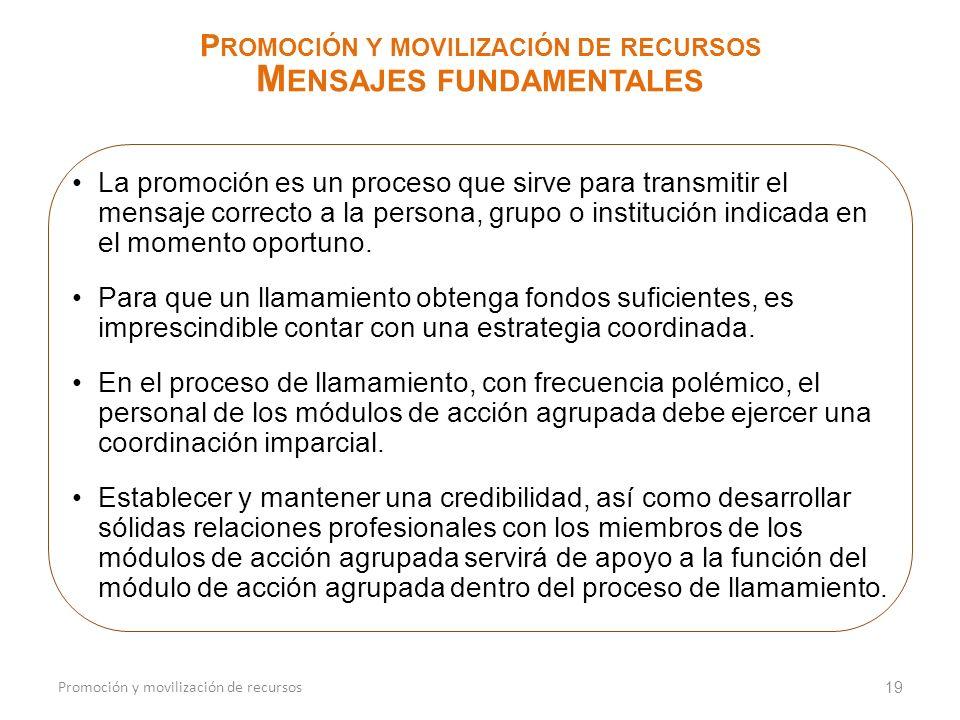 19 P ROMOCIÓN Y MOVILIZACIÓN DE RECURSOS M ENSAJES FUNDAMENTALES Promoción y movilización de recursos La promoción es un proceso que sirve para transm