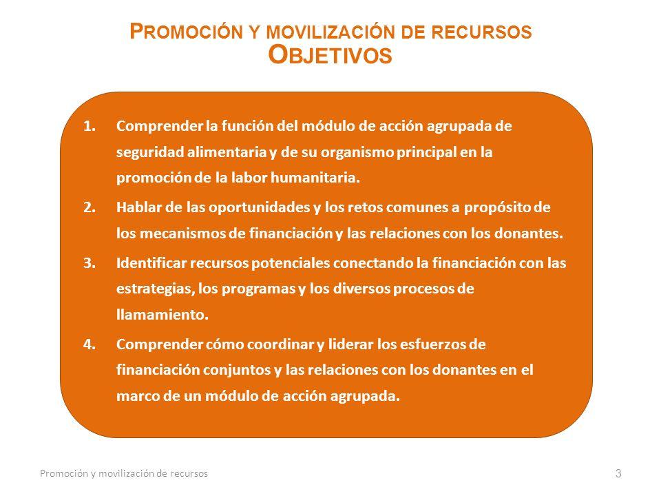 1.Comprender la función del módulo de acción agrupada de seguridad alimentaria y de su organismo principal en la promoción de la labor humanitaria. 2.
