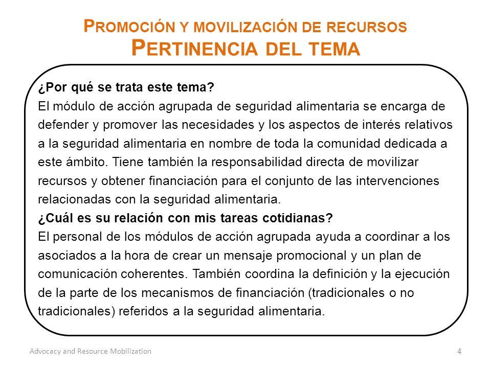 4 P ROMOCIÓN Y MOVILIZACIÓN DE RECURSOS P ERTINENCIA DEL TEMA Advocacy and Resource Mobilization ¿Por qué se trata este tema.