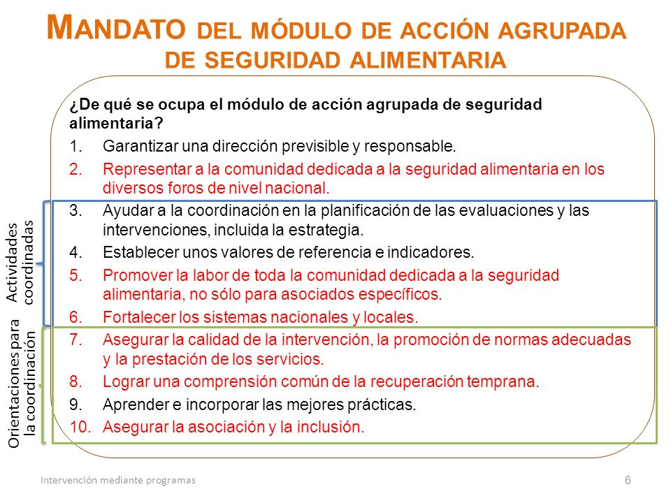 ¿De qué se ocupa el módulo de acción agrupada de seguridad alimentaria? 1.Garantizar una dirección previsible y responsable. 2.Representar a la comuni