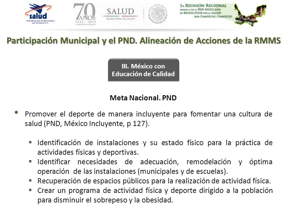 Participación Municipal y el PND. Alineación de Acciones de la RMMS III. México con Educación de Calidad Meta Nacional. PND Promover el deporte de man
