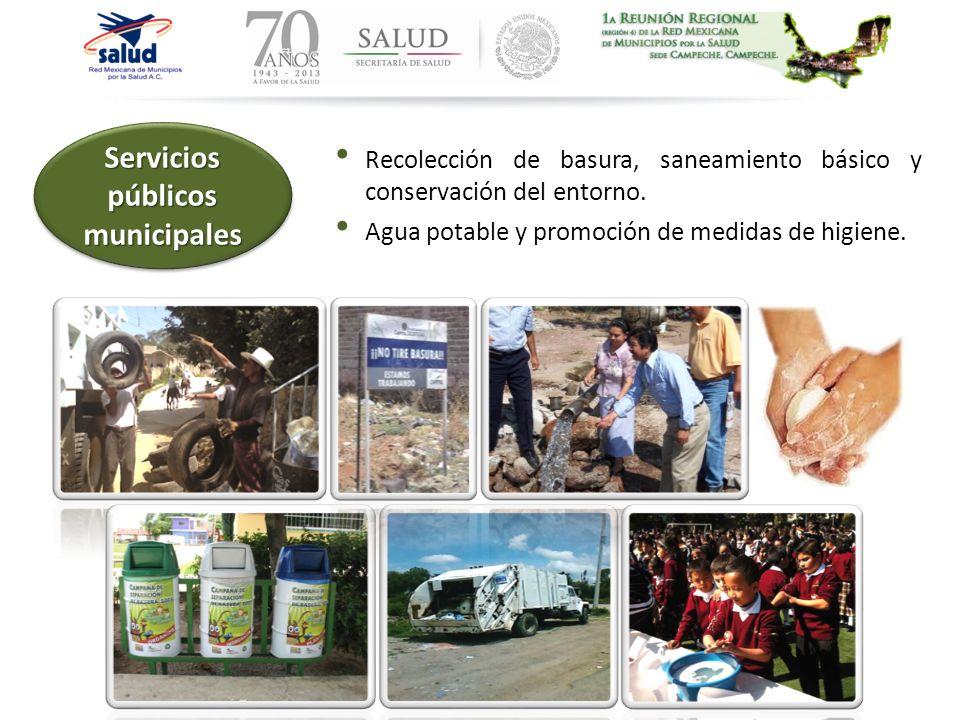 Recolección de basura, saneamiento básico y conservación del entorno. Agua potable y promoción de medidas de higiene. Servicios públicos municipales