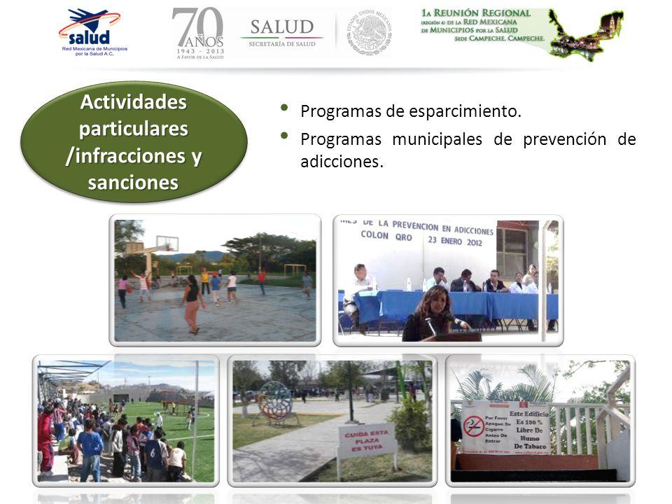 Programas de esparcimiento. Programas municipales de prevención de adicciones. Actividades particulares /infracciones y sanciones