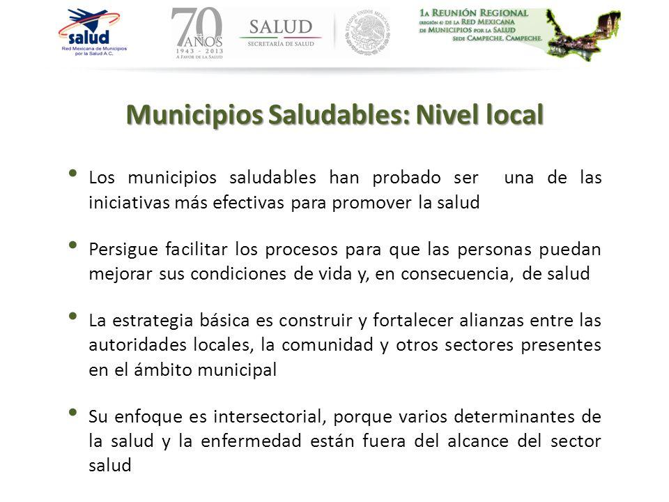 Municipios Saludables: Nivel local Los municipios saludables han probado ser una de las iniciativas más efectivas para promover la salud Persigue faci