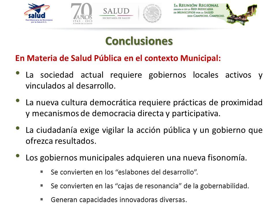 Conclusiones En Materia de Salud Pública en el contexto Municipal: La sociedad actual requiere gobiernos locales activos y vinculados al desarrollo. L