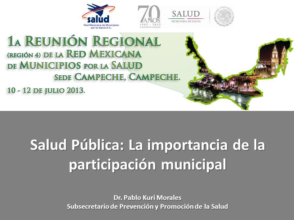 Salud Pública: La importancia de la participación municipal Dr. Pablo Kuri Morales Subsecretario de Prevención y Promoción de la Salud