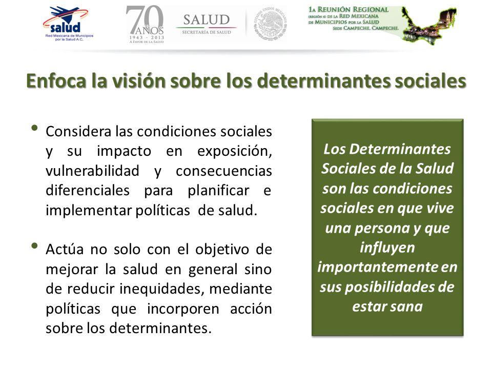 Enfoca la visión sobre los determinantes sociales Considera las condiciones sociales y su impacto en exposición, vulnerabilidad y consecuencias difere