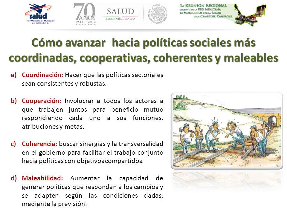 Cómo avanzar hacia políticas sociales más coordinadas, cooperativas, coherentes y maleables a)Coordinación: Hacer que las políticas sectoriales sean c