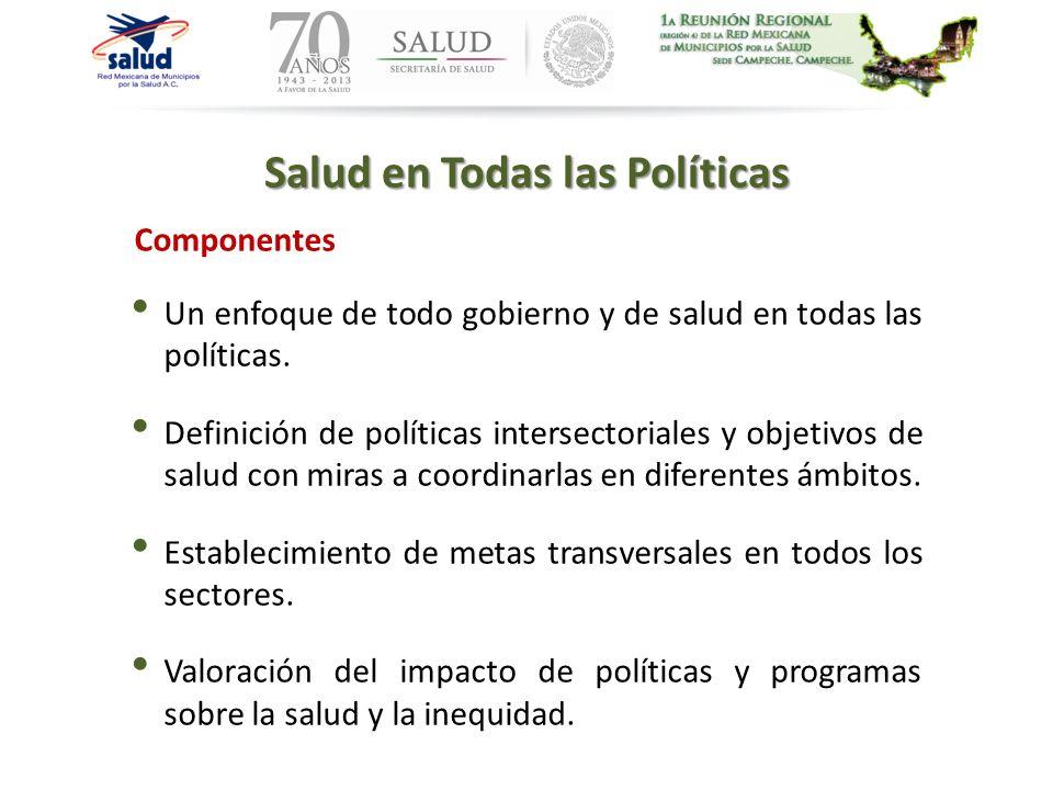 Componentes Salud en Todas las Políticas Un enfoque de todo gobierno y de salud en todas las políticas. Definición de políticas intersectoriales y obj