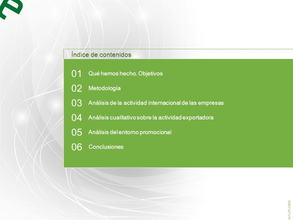 03 www.futuver.com © FUTUVER Libro Blanco de la Internacionalización Análisis de la actividad internacional de las empresas El tipo de cliente mayoritario internacional es la empresa, superando ampliamente al distribuidor.