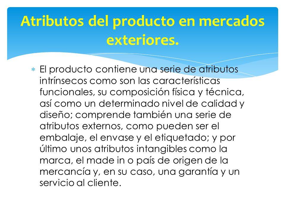 El producto contiene una serie de atributos intrínsecos como son las características funcionales, su composición física y técnica, así como un determi
