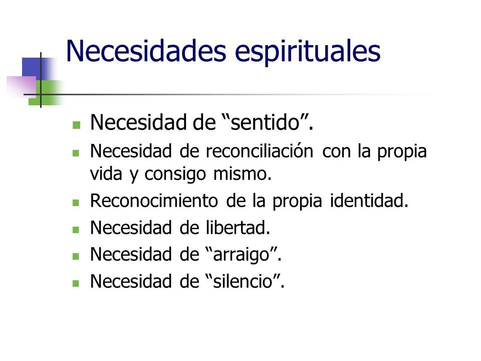 Necesidades espirituales Necesidad de sentido.