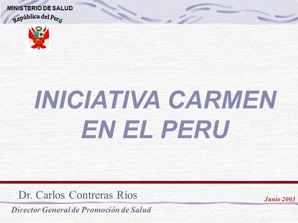 INICIATIVA CARMEN EN EL PERU MINISTERIO DE SALUD MINISTERIO DE SALUD Dr. Carlos Contreras Ríos Director General de Promoción de Salud Junio 2003