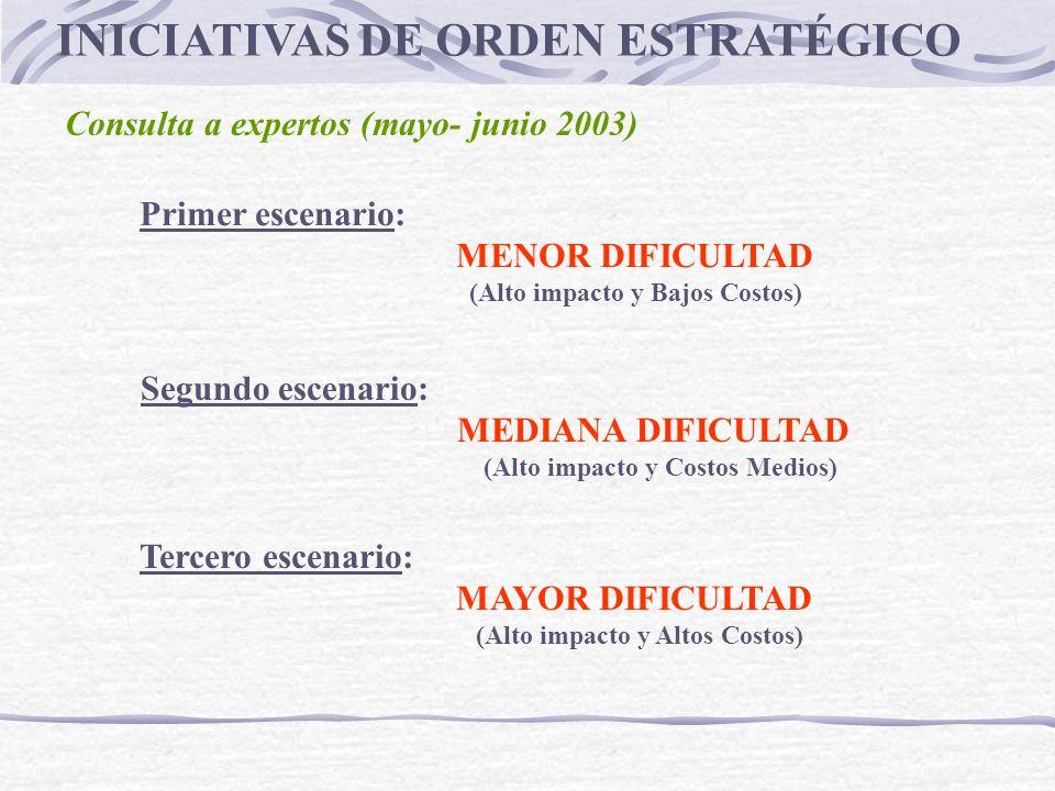 INICIATIVAS DE ORDEN ESTRATÉGICO Consulta a expertos (mayo- junio 2003) Primer escenario: MENOR DIFICULTAD (Alto impacto y Bajos Costos) Segundo escen