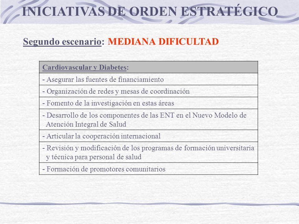 INICIATIVAS DE ORDEN ESTRATÉGICO Segundo escenario: MEDIANA DIFICULTAD Cardiovascular y Diabetes: - Asegurar las fuentes de financiamiento - Organizac