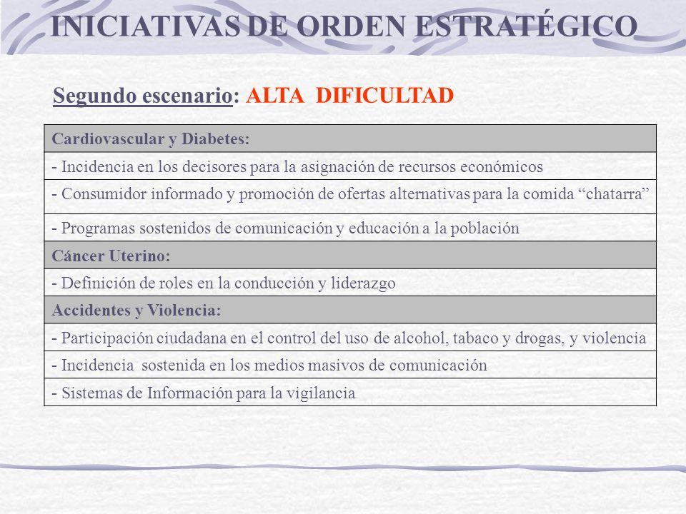 INICIATIVAS DE ORDEN ESTRATÉGICO Segundo escenario: ALTA DIFICULTAD Cardiovascular y Diabetes: - Incidencia en los decisores para la asignación de rec