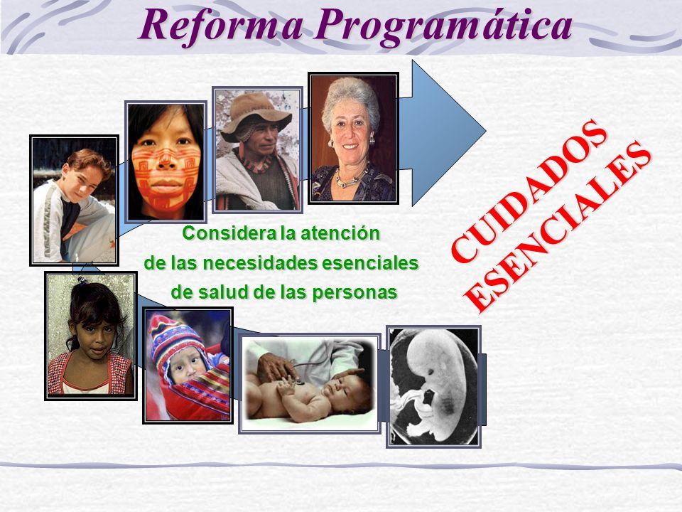 Considera la atención de las necesidades esenciales de salud de las personas de salud de las personas CUIDADOSESENCIALES Reforma Programática