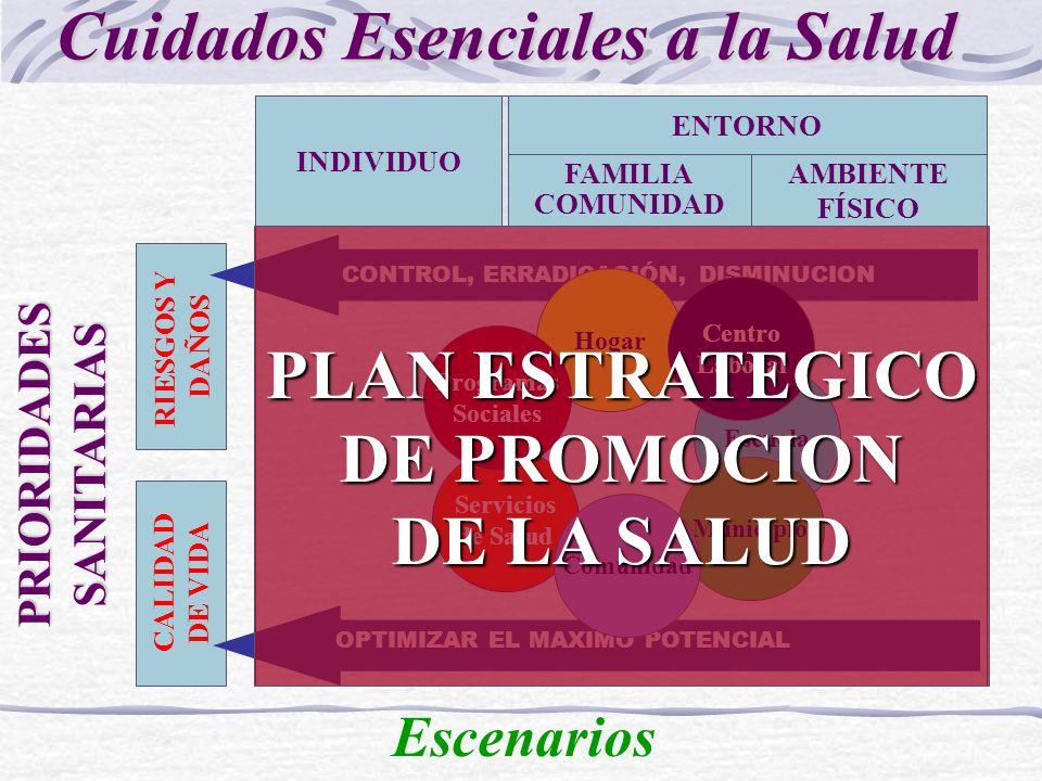 CALIDAD DE VIDA RIESGOS Y DAÑOS CONTROL, ERRADICACIÓN, DISMINUCION OPTIMIZAR EL MAXIMO POTENCIAL ENTORNO INDIVIDUO AMBIENTE FÍSICO FAMILIA COMUNIDAD PRIORIDADES SANITARIAS Cuidados Esenciales a la Salud Escenarios Servicios de Salud Hogar Escuela Centro Laboral Municipio Comunidad Programas Sociales PLAN ESTRATEGICO DE PROMOCION DE LA SALUD