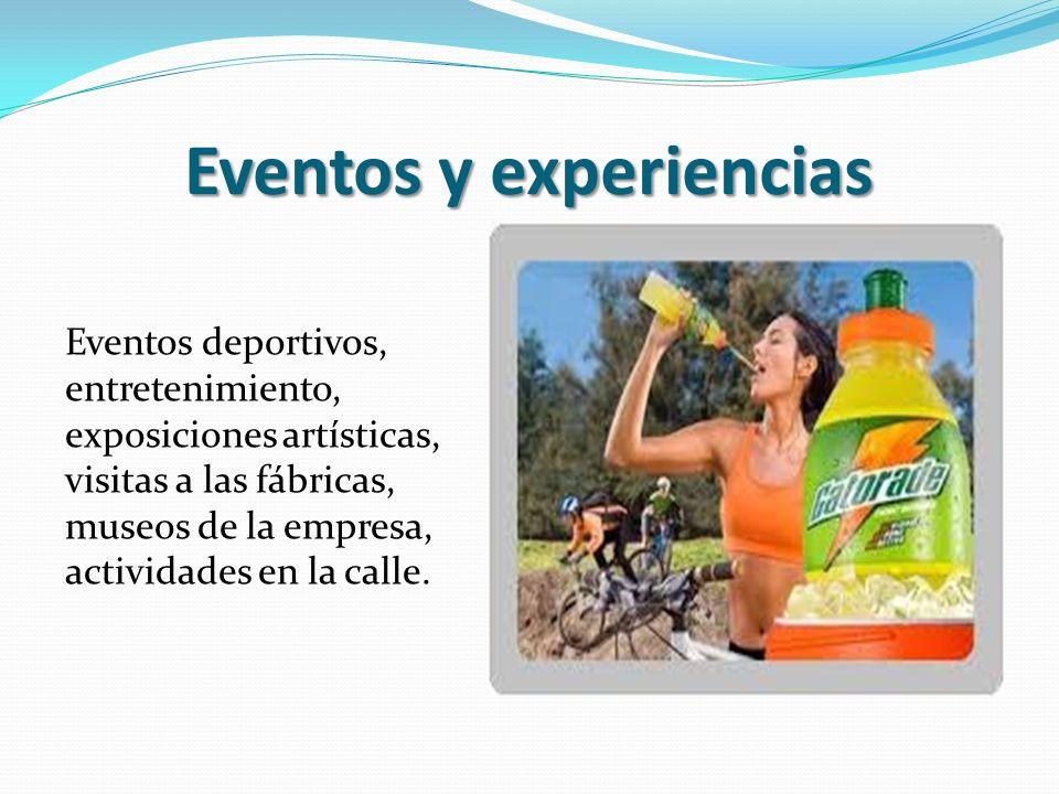 Eventos y experiencias Eventos deportivos, entretenimiento, exposiciones artísticas, visitas a las fábricas, museos de la empresa, actividades en la c