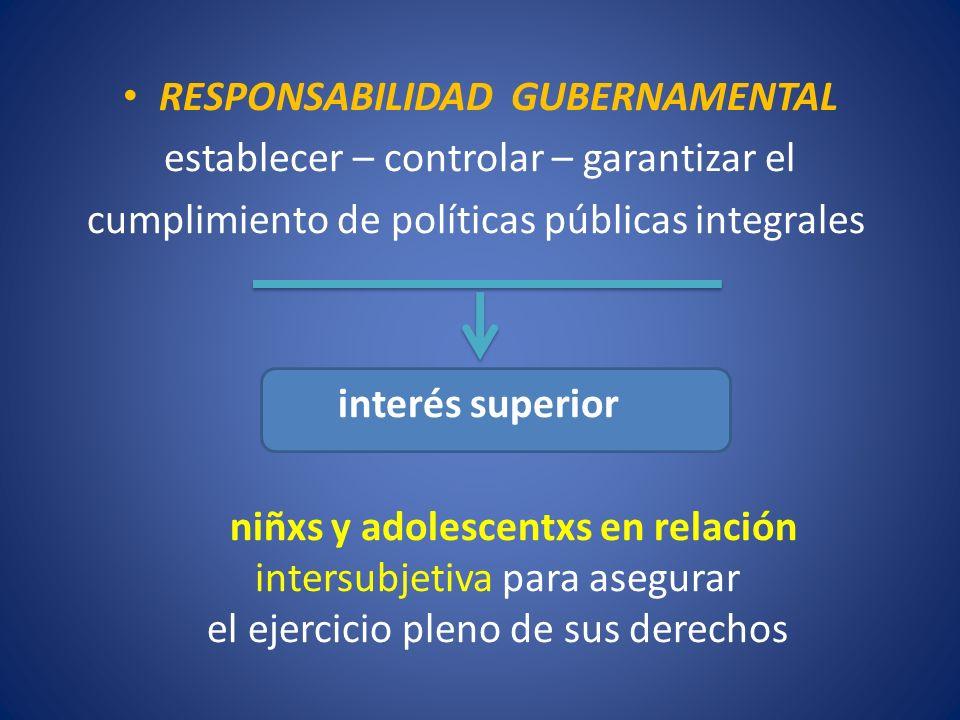RESPONSABILIDAD GUBERNAMENTAL establecer – controlar – garantizar el cumplimiento de políticas públicas integrales interés superior niñxs y adolescent