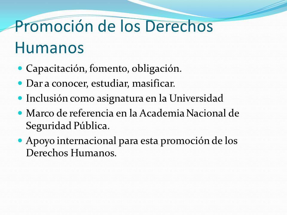 Promoción de los Derechos Humanos Capacitación, fomento, obligación. Dar a conocer, estudiar, masificar. Inclusión como asignatura en la Universidad M