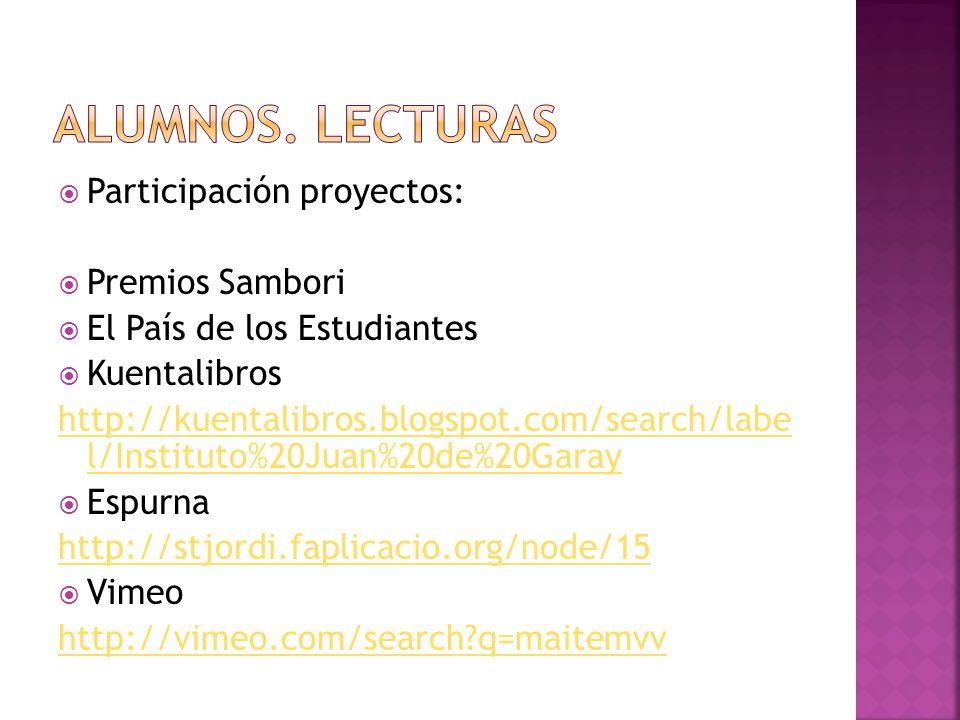 Participación proyectos: Premios Sambori El País de los Estudiantes Kuentalibros http://kuentalibros.blogspot.com/search/labe l/Instituto%20Juan%20de%