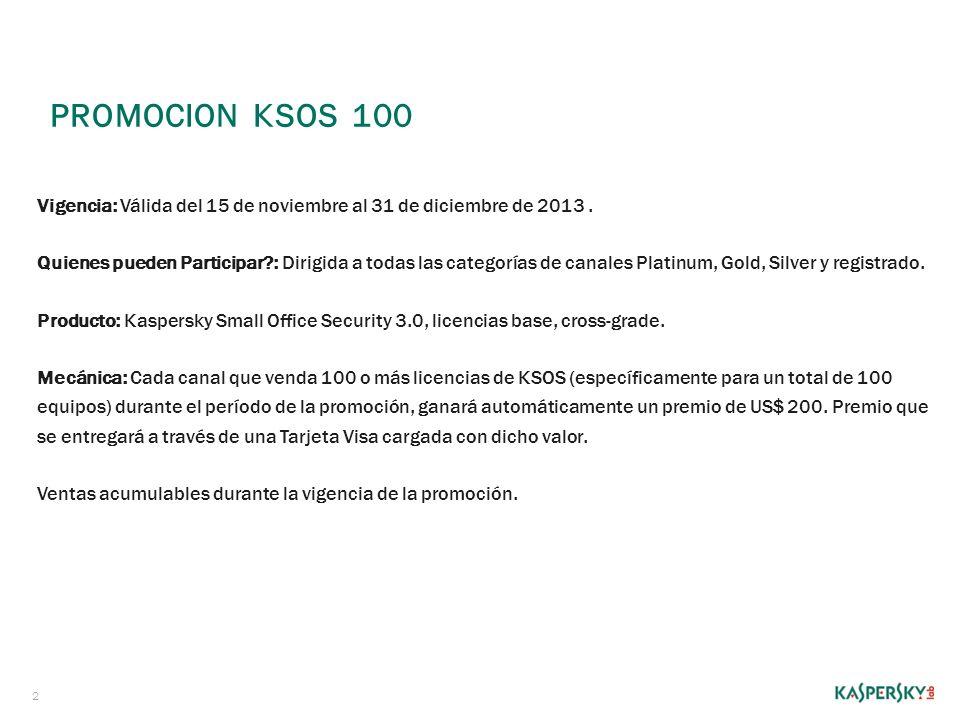 PROMOCION KSOS 100 2 Vigencia: Válida del 15 de noviembre al 31 de diciembre de 2013. Quienes pueden Participar?: Dirigida a todas las categorías de c
