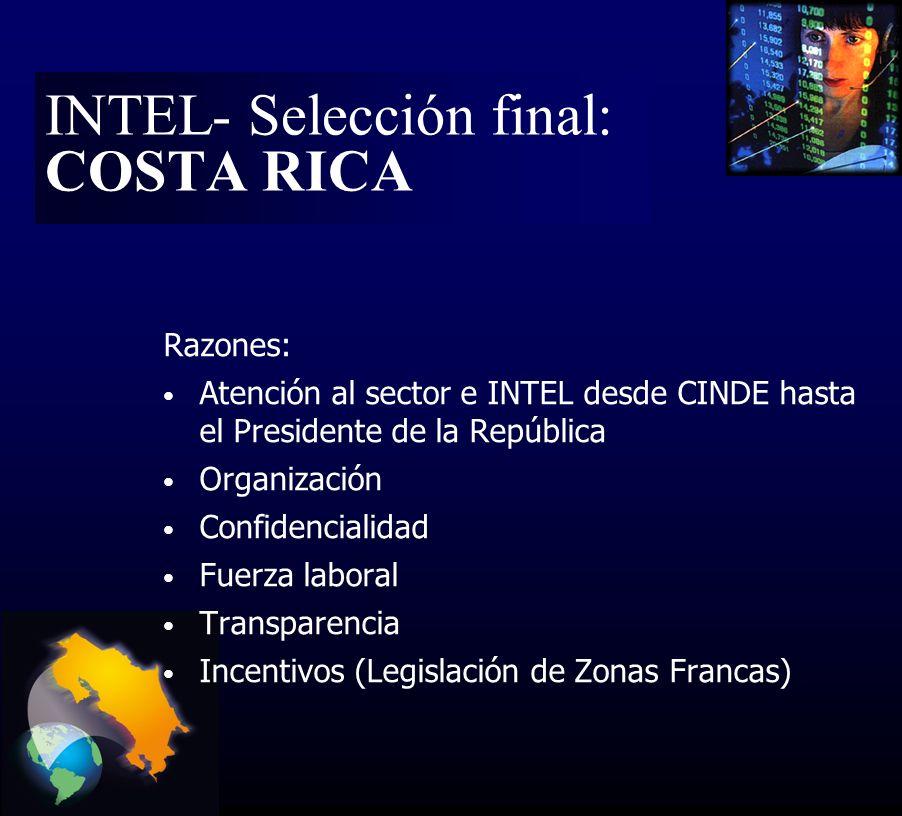 Razones: Atención al sector e INTEL desde CINDE hasta el Presidente de la República Organización Confidencialidad Fuerza laboral Transparencia Incentivos (Legislación de Zonas Francas) INTEL- Selección final: COSTA RICA