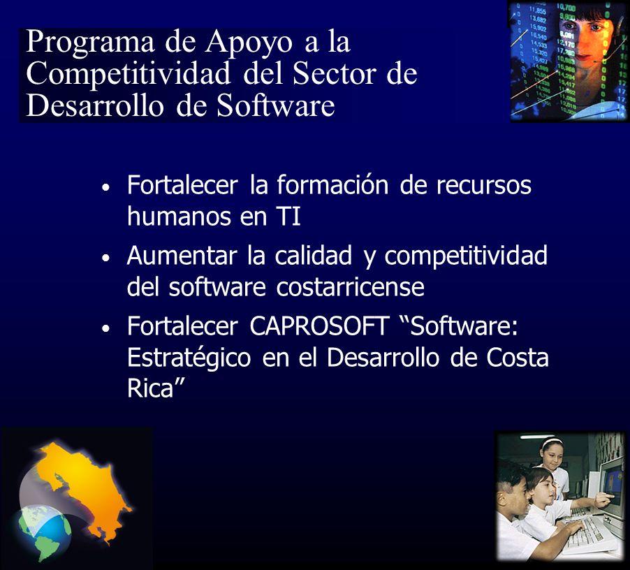 Programa de Apoyo a la Competitividad del Sector de Desarrollo de Software Fortalecer la formación de recursos humanos en TI Aumentar la calidad y competitividad del software costarricense Fortalecer CAPROSOFT Software: Estratégico en el Desarrollo de Costa Rica