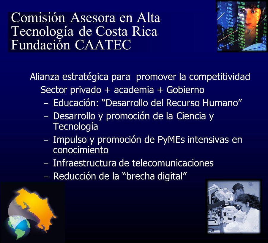 Comisión Asesora en Alta Tecnología de Costa Rica Fundación CAATEC Alianza estratégica para promover la competitividad Sector privado + academia + Gobierno – Educación: Desarrollo del Recurso Humano – Desarrollo y promoción de la Ciencia y Tecnología – Impulso y promoción de PyMEs intensivas en conocimiento – Infraestructura de telecomunicaciones – Reducción de la brecha digital