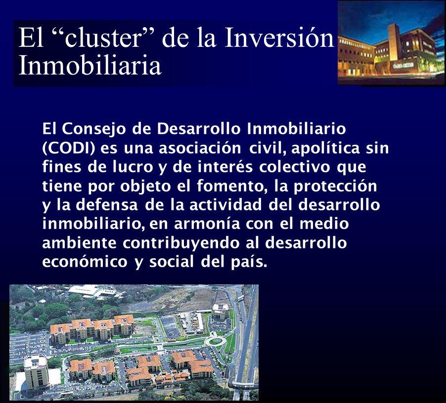 El cluster de la Inversión Inmobiliaria El Consejo de Desarrollo Inmobiliario (CODI) es una asociación civil, apolítica sin fines de lucro y de interés colectivo que tiene por objeto el fomento, la protección y la defensa de la actividad del desarrollo inmobiliario, en armonía con el medio ambiente contribuyendo al desarrollo económico y social del país.