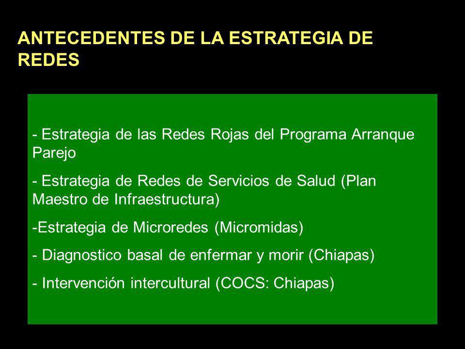 - Estrategia de las Redes Rojas del Programa Arranque Parejo - Estrategia de Redes de Servicios de Salud (Plan Maestro de Infraestructura) -Estrategia