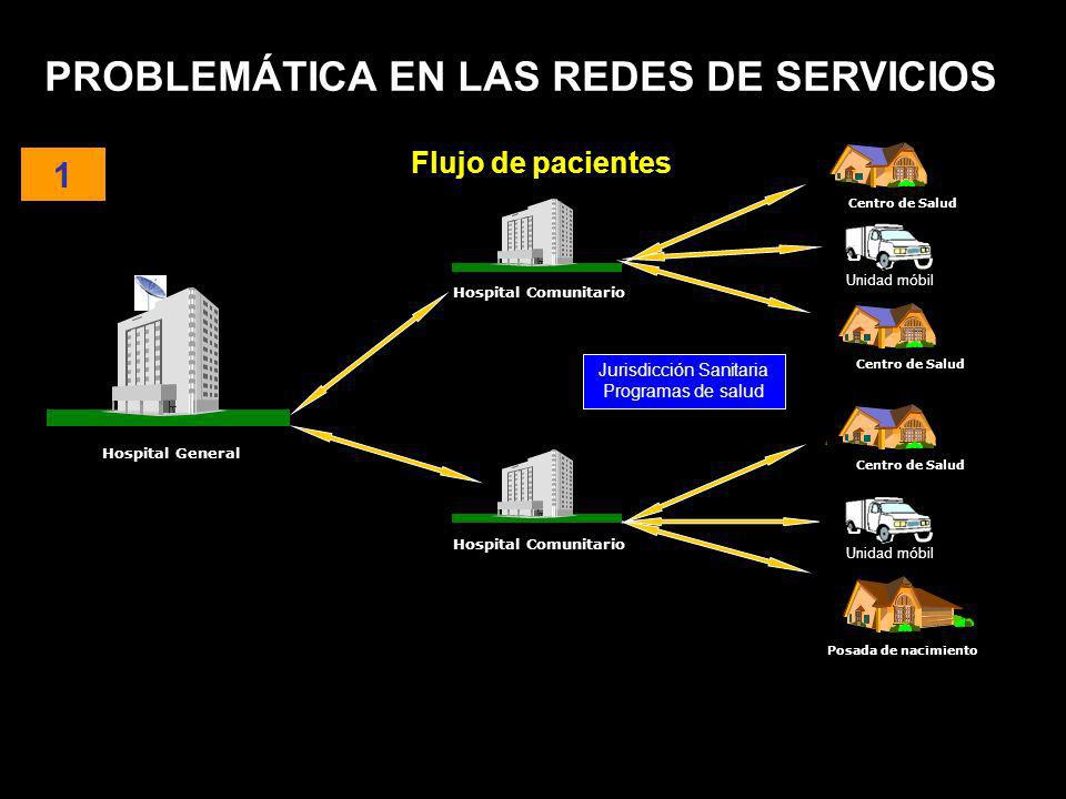 PROBLEMÁTICA EN LAS REDES DE SERVICIOS Jurisdicción Sanitaria Programas de salud Hospital General Hospital Comunitario Centro de Salud Unidad móbil 1