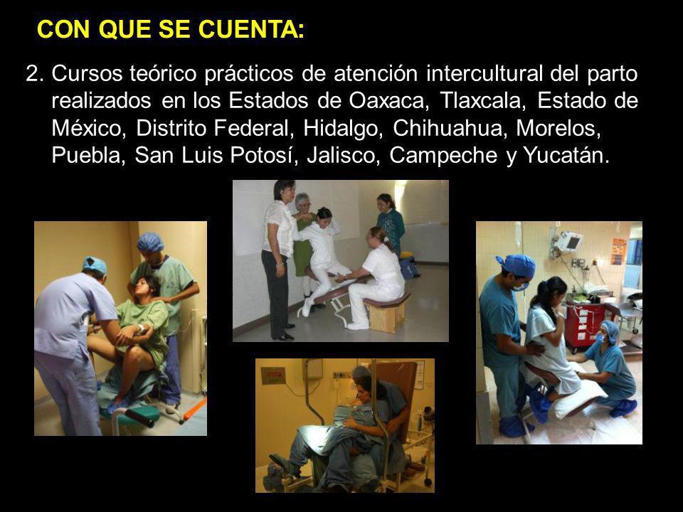 1.jgj 2.Cursos teórico prácticos de atención intercultural del parto realizados en los Estados de Oaxaca, Tlaxcala, Estado de México, Distrito Federal