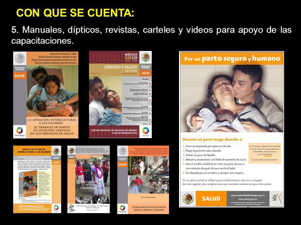 1.jgj 2.popop 5. Manuales, dípticos, revistas, carteles y videos para apoyo de las capacitaciones. CON QUE SE CUENTA :