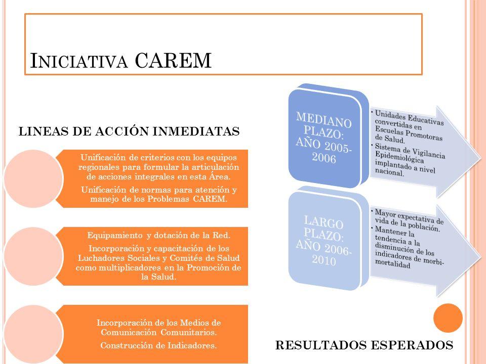 I NICIATIVA CAREM Unificación de criterios con los equipos regionales para formular la articulación de acciones integrales en esta Área.