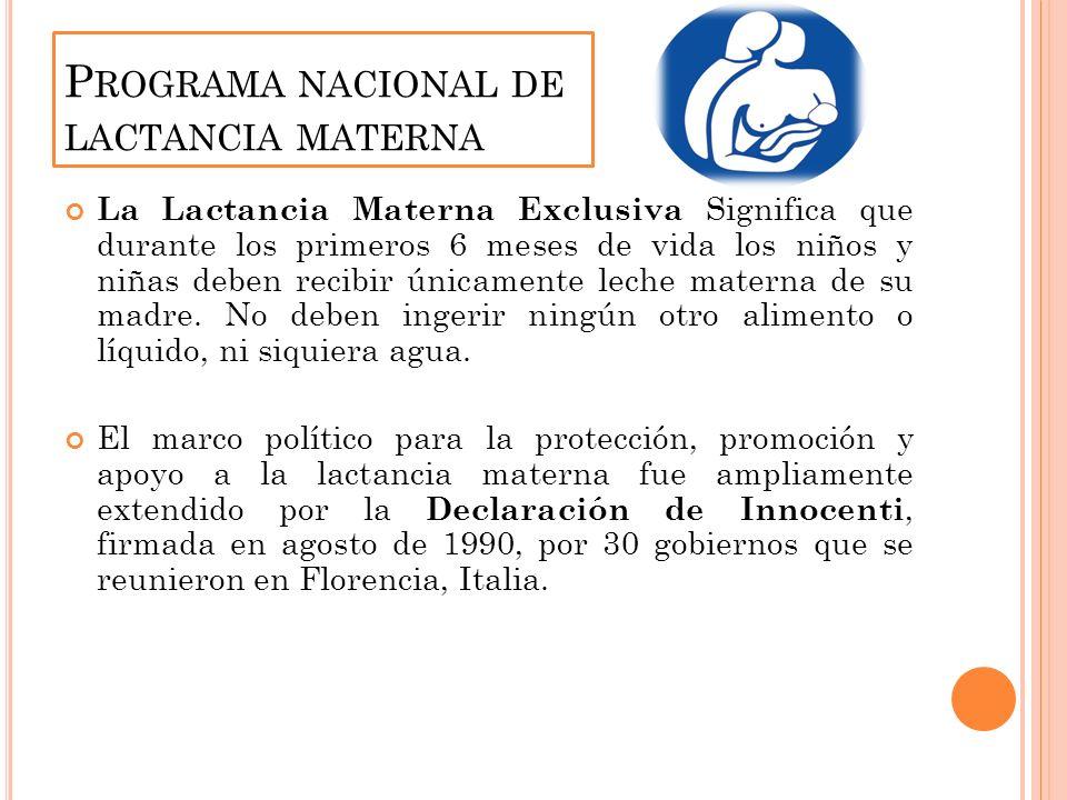 P ROGRAMA NACIONAL DE LACTANCIA MATERNA La Lactancia Materna Exclusiva Significa que durante los primeros 6 meses de vida los niños y niñas deben recibir únicamente leche materna de su madre.