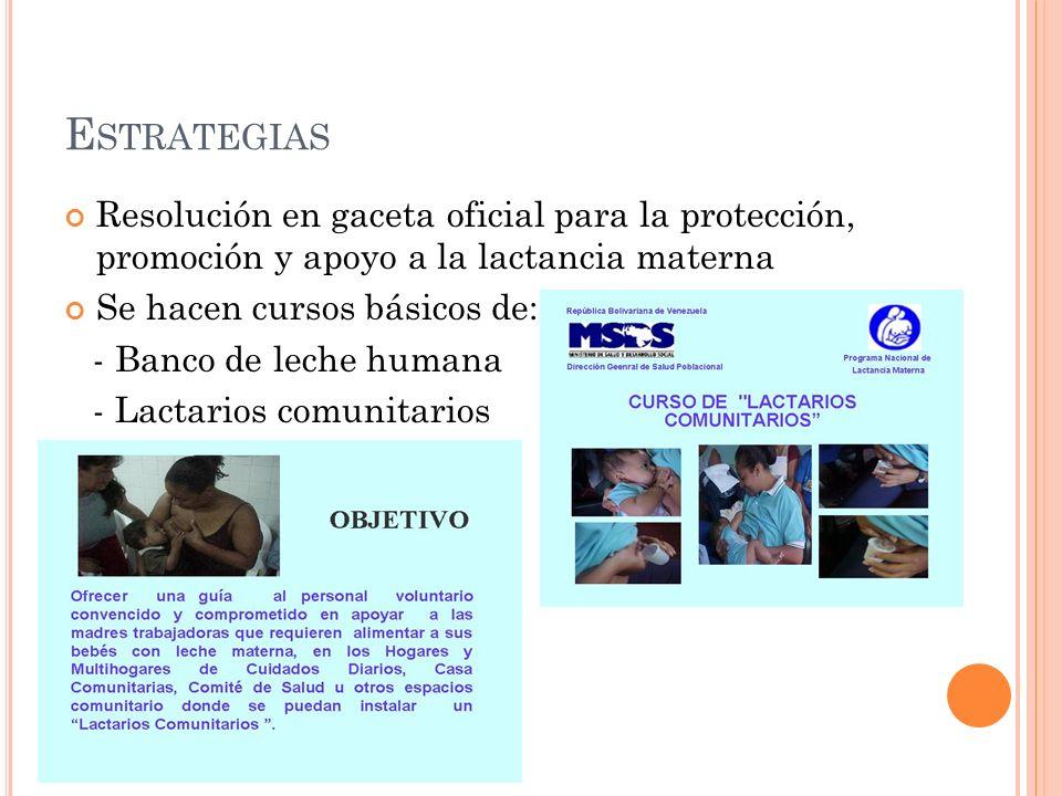 E STRATEGIAS Resolución en gaceta oficial para la protección, promoción y apoyo a la lactancia materna Se hacen cursos básicos de: - Banco de leche humana - Lactarios comunitarios