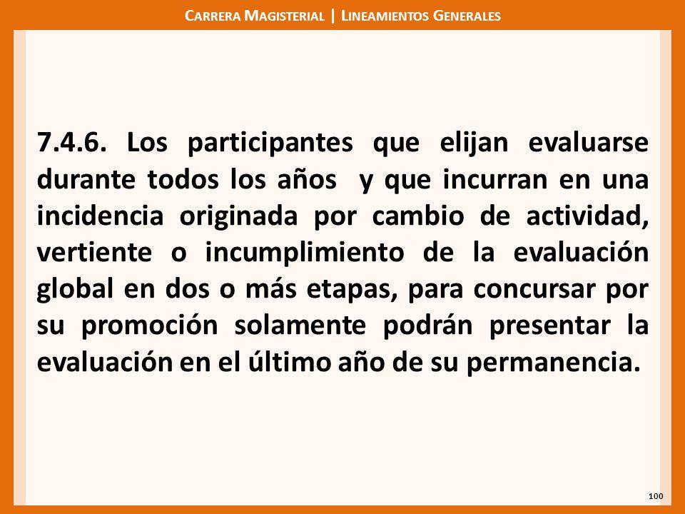 C ARRERA M AGISTERIAL | L INEAMIENTOS G ENERALES 100 7.4.6. Los participantes que elijan evaluarse durante todos los años y que incurran en una incide