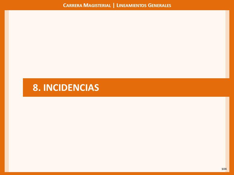 C ARRERA M AGISTERIAL | L INEAMIENTOS G ENERALES 104 8. INCIDENCIAS