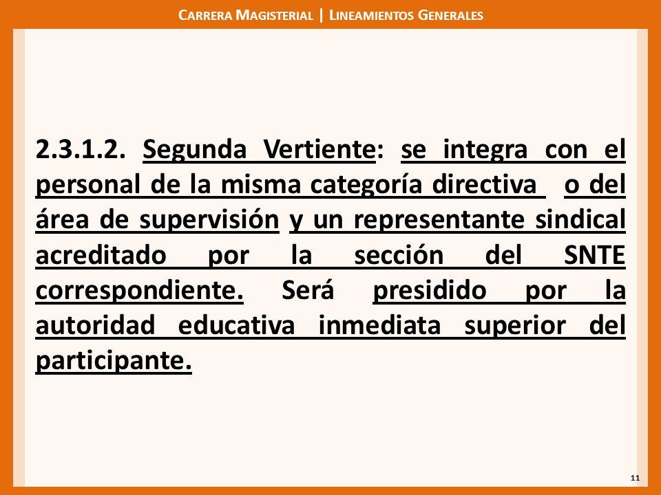 C ARRERA M AGISTERIAL | L INEAMIENTOS G ENERALES 11 2.3.1.2. Segunda Vertiente: se integra con el personal de la misma categoría directiva o del área