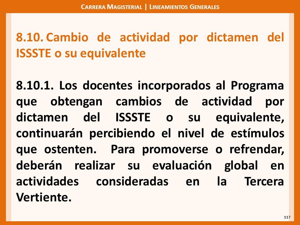 C ARRERA M AGISTERIAL | L INEAMIENTOS G ENERALES 117 8.10.Cambio de actividad por dictamen del ISSSTE o su equivalente 8.10.1.