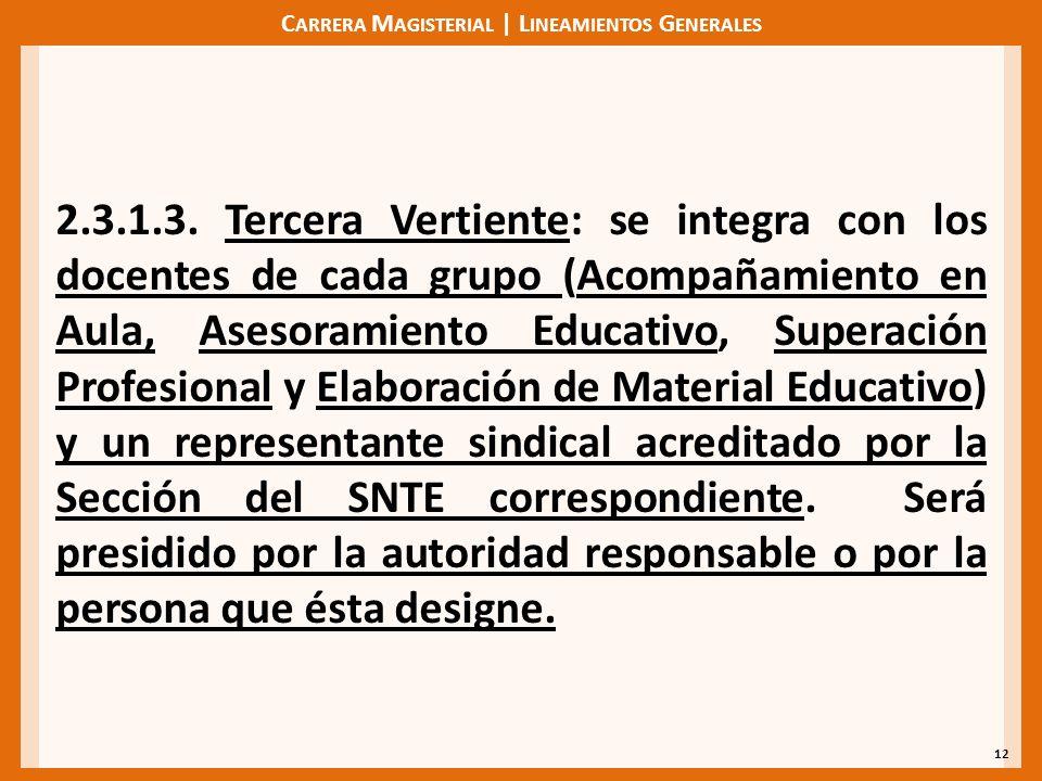 C ARRERA M AGISTERIAL | L INEAMIENTOS G ENERALES 12 2.3.1.3. Tercera Vertiente: se integra con los docentes de cada grupo (Acompañamiento en Aula, Ase