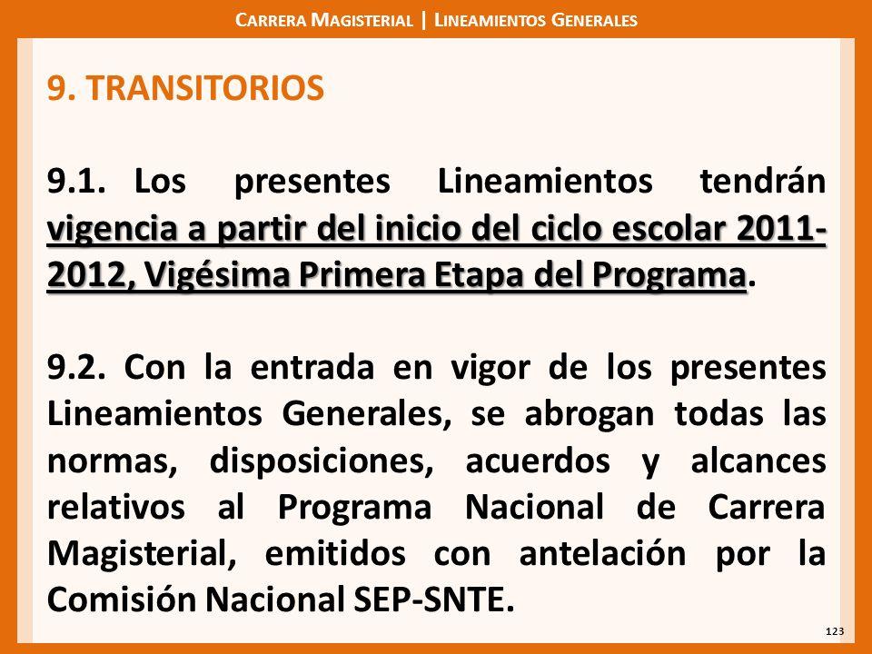 C ARRERA M AGISTERIAL | L INEAMIENTOS G ENERALES 123 9. TRANSITORIOS vigencia a partir del inicio del ciclo escolar 2011- 2012, Vigésima Primera Etapa